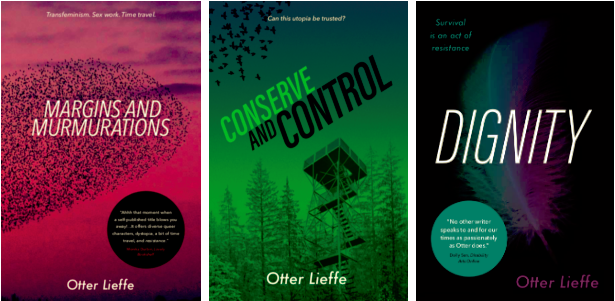 Front covers of the Margins trilogy - utopian trans speculative fiction novels with trans, queer, sexworker and nonbinary characters by author, Kes Otter Lieffe