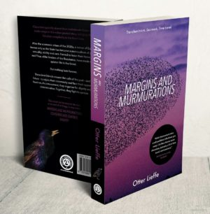 Front and back cover of Margins and Murmurations - a utopian trans speculative fiction novel with trans, queer, sex worker and nonbinary characters