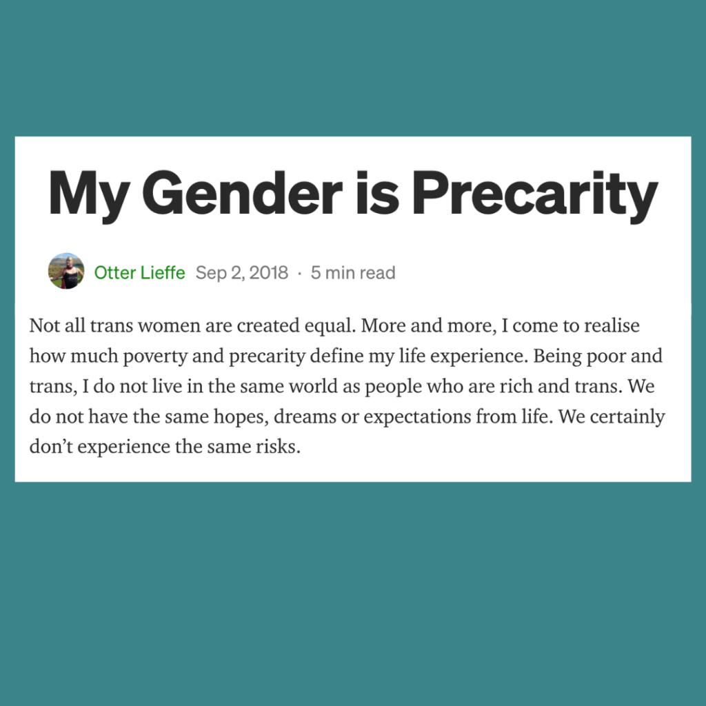 My Gender is Precarity. Links to an article on class and gender by trans speculative fiction author, Kes Otter Lieffe [text over a teal background]