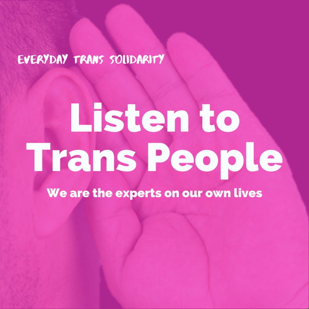 Everyday Trans Solidarity image by Charlie, and trans author, Kes Otter Lieffe. Text reads: Listen to trans people. We are the experts on our own lives