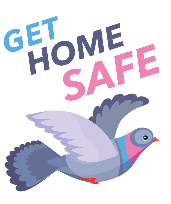 Get Home Safe logo and queer pigeon. Get home safe is a mutual aid and solidarity project getting people at risk home safer in Berlin.